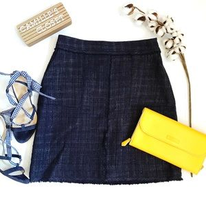 Banana Republic Navy Coated Tweed Skirt